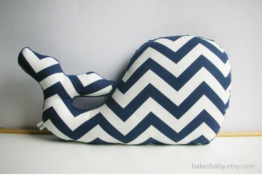 Whale Pillow, Modern Nautical Nursery Decor, navy chevron - bakerbaby