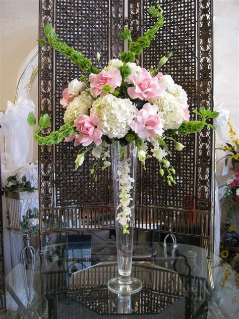 Pink White & Green Wedding Centerpiece with Roses
