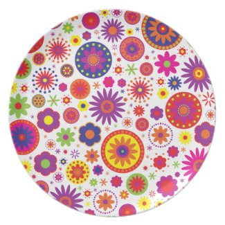 Hippy Rainbow Flowers Party Plates
