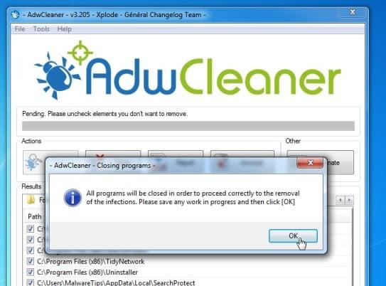 AdwCleaner removing Trovi.com virus