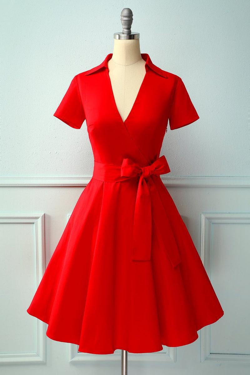 rot v-ausschnitt einfarbig kleid