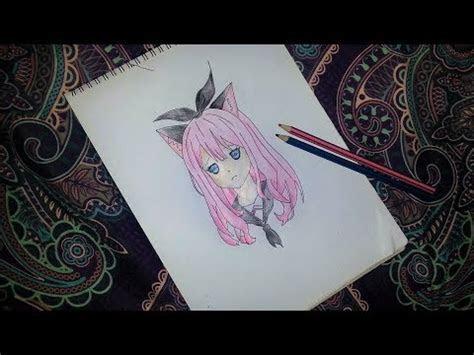 draw  anime school girl  cat ears easy