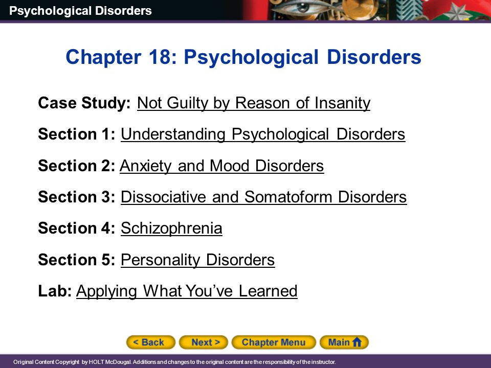 Chapter 18 Psychological Disorders Ppt Video Online Download