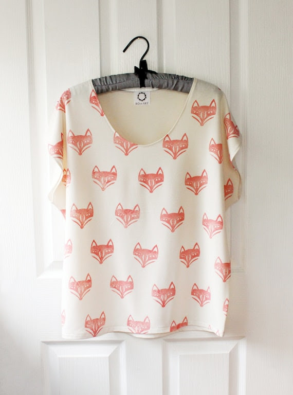 Fox Face Batwing Top -  bone jersey