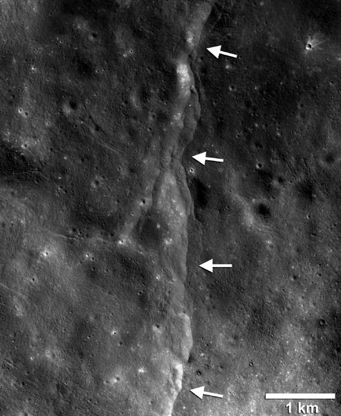A Lunar Reconnaissance Orbiter image of 'lobate scarps' that formed when crustal materials pushed together, breaking and thrusting upward along a fault to form a cliff. Cooling of the still hot lunar interior is causing the Moon to shrink..causing these scarps.