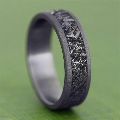 Handmade Mimetic Meteorite Ring, Sandblasted Titanium
