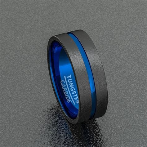 Tungsten Wedding Band Two Tone 8mm Black Mens Ring Center