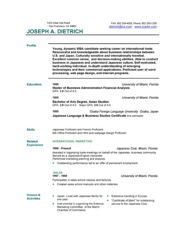 Free Resumes Templates  cyberuse
