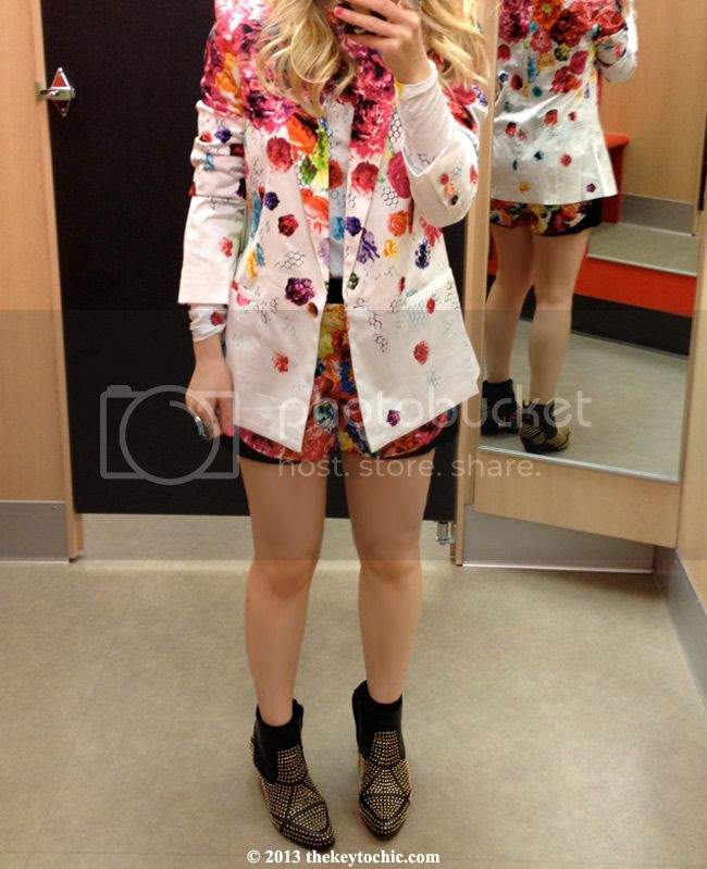 Prabal Gurung for Target floral crush shorts suit, Prabal Gurung for Target fitting room review