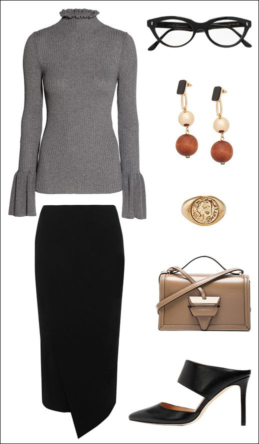 Stylish Work Outfit Inspiration Biggest Trends Flared Sleeve Sweater Cat Eye Glasses Drop Earrings Signet Ring Wrap Skirt Loewe Barcelona Bag  Black Mule Heels Chic Office Wardrobe Le Fashion Blog