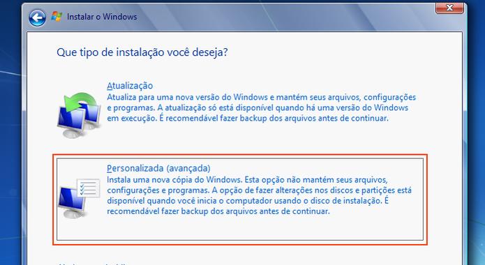 """Selecionando a instalação """"Personalizada"""" do Windows 7 (Foto: Reprodução/Edivaldo Brito) (Foto: Selecionando a instalação """"Personalizada"""" do Windows 7 (Foto: Reprodução/Edivaldo Brito))"""