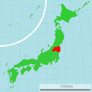 Map of Japan with Fukushima highlighted