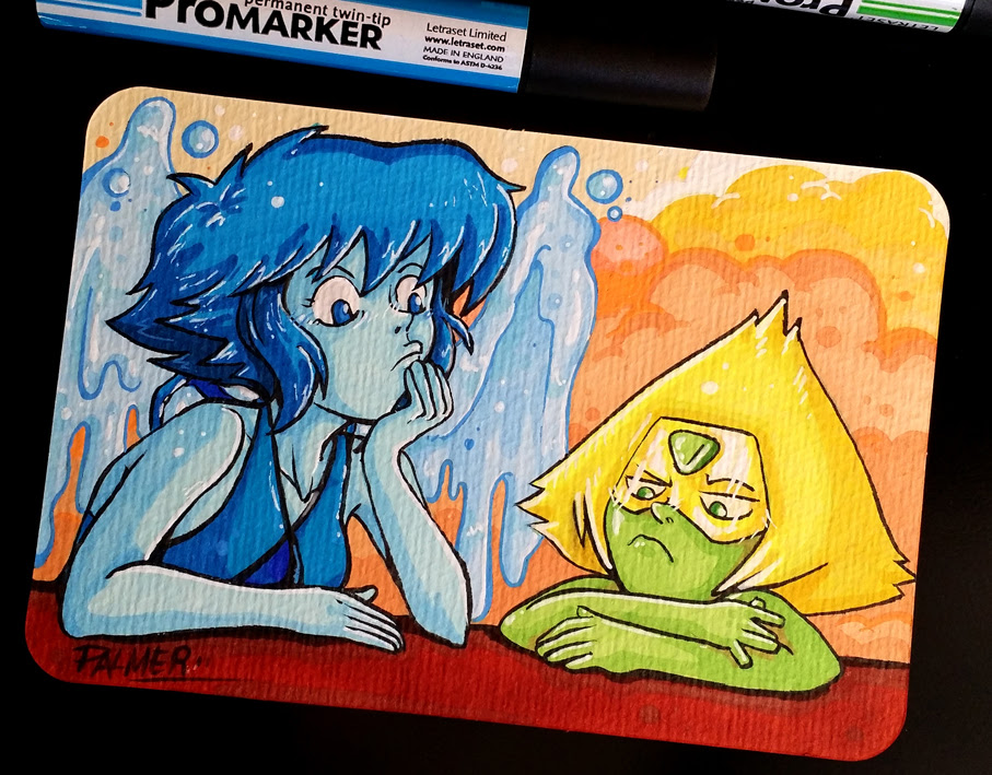 I haven´t uploaded anything here in Deviantart for a long time, in fact, I haven´t drawn for a long time. This drawing belongs to a series of postcards I made of the Steven Universe serie...