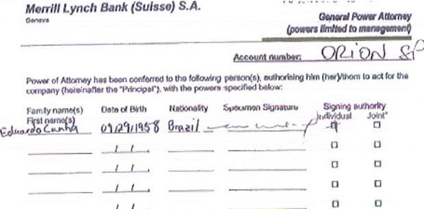 Assinatura de Eduardo Cunha em conta na Suíça da Orion SP (Foto: Reprodução)