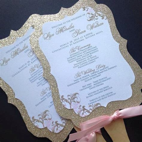 wedding fan programs glitter wedding fan programs gold
