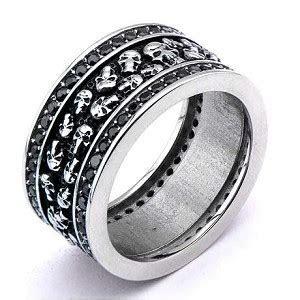 Stainless Steel Multi Skull Ring with Modern Gems