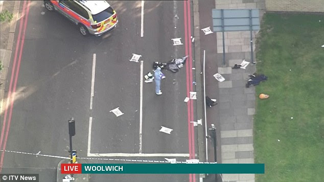 From above: This video grab from an ITV News broadcast shows an aerial view of the investigation scene