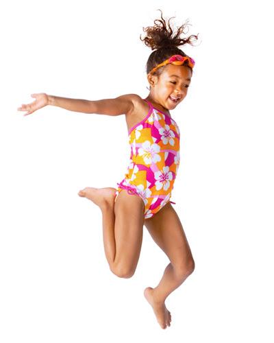 jumping swim suit girl