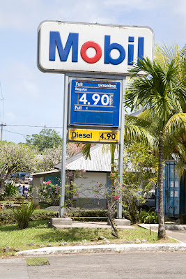 Mobil gas station sign showing $4.90 a gallon