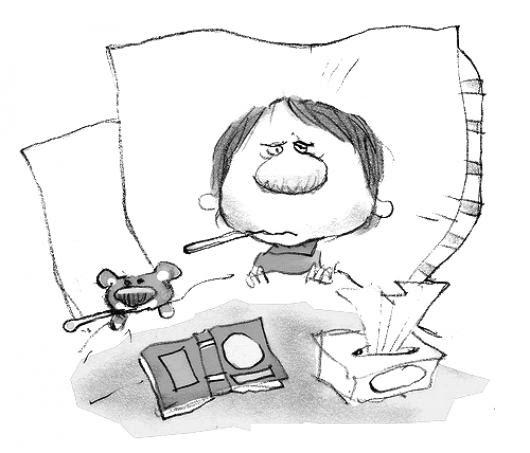 Dibujo De Nino Con Fiebre Para Colorear Bebe Con Temperatura Alta
