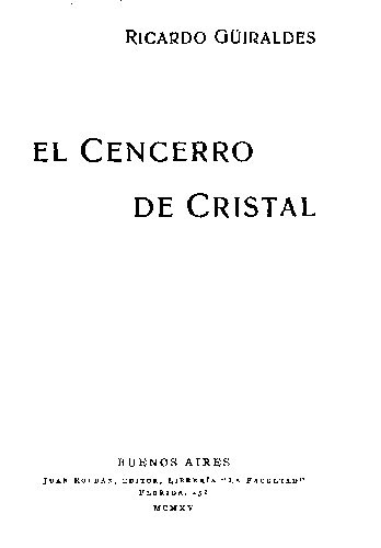 El Cencerro De Cristal Ricardo Guiraldes Biblioteca Virtual