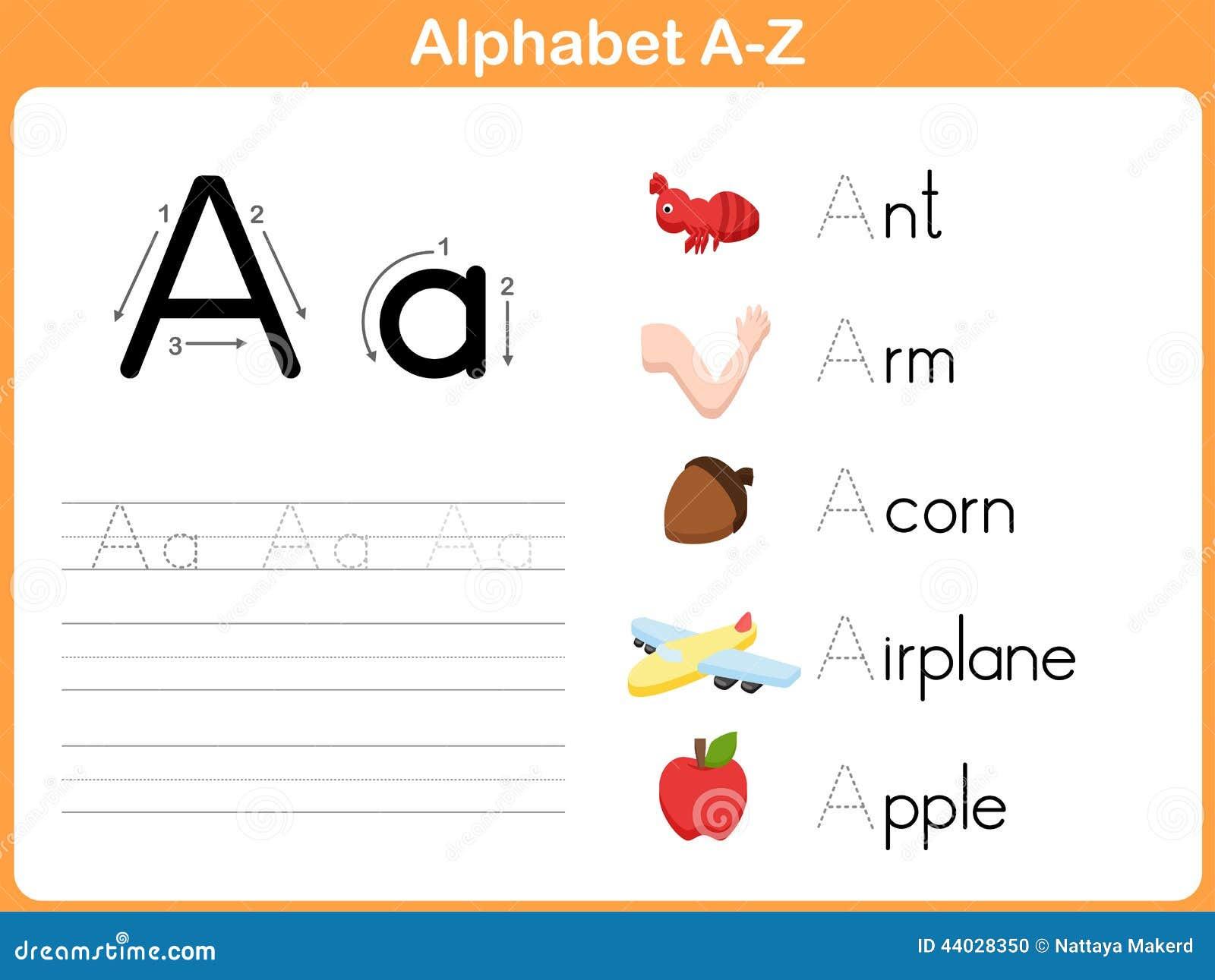 Alphabet Tracing Worksheet Stock Vector - Image: 44028350