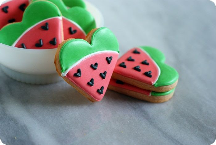 watermelon cut-out cookies  ::: bake at 350 blog