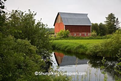 Red Barn Reflecting in Stream, Douglas County, Wisconsin