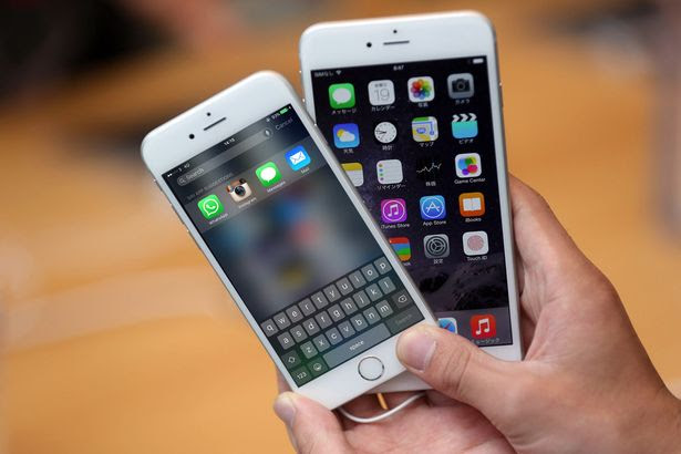 iPhone models at the launch of the new Apple iPhone 6 and iPhone 6 plus