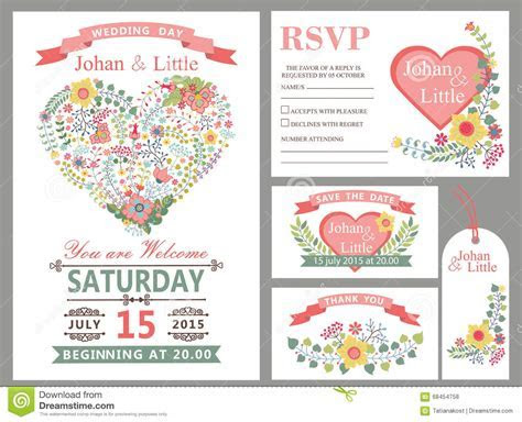 Wedding Design Template Set.Floral Heart Decor Stock