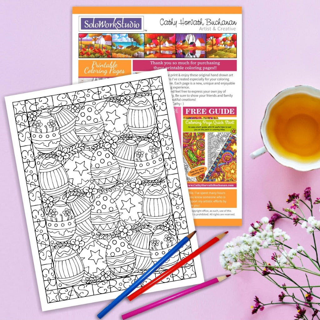 Easter Eggs Flower Rows Coloring Page Pdf Instant Download Printable Soloworkstudio