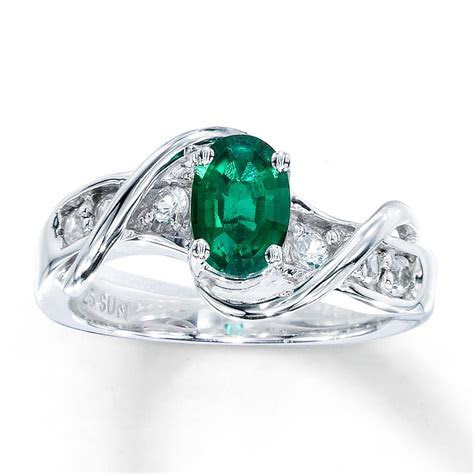 Lab Created Emerald Ring Lab Created Sapphires Sterling