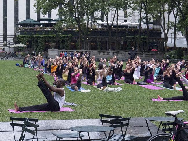 Yoga, in the rain