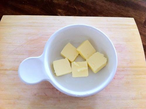 Sliced Butter in Corningware Grab-It Bowl for Melting