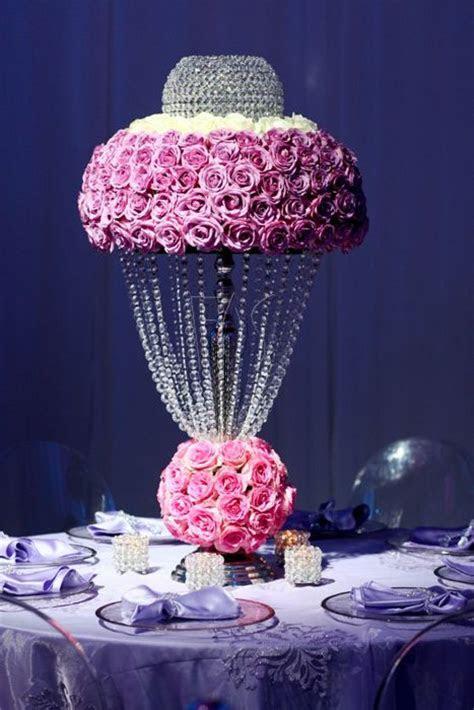 Unique Floral Centerpiece. Crystal and rose centrepiece