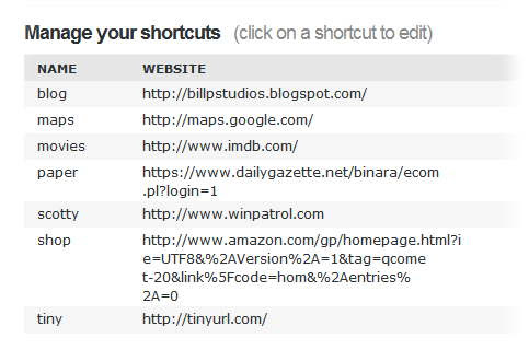 A list of my current OpenDNS shortcuts