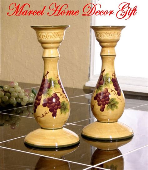 grape kitchen items candle holders set grape tuscany