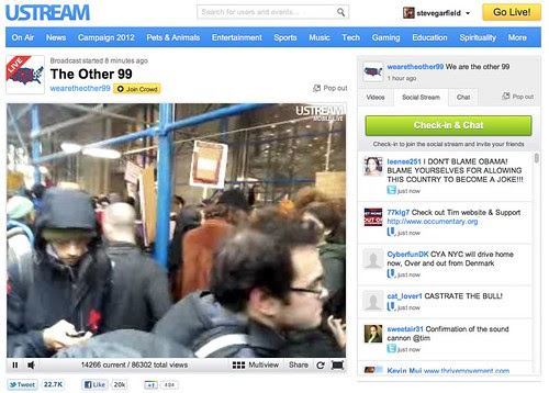 The Other 99 Live streaming #ows on Ustream.TV: -Twitter- @TheOther99 by stevegarfield