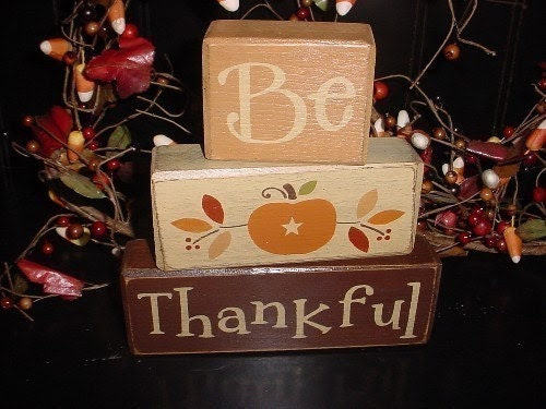 3 Different Styles...Come See...BE THANKFUL FALL HARVEST AUTUMN THANKSGIVING PUMPKIN TURKEY PILGRIM Wood Sign Blocks PRIMITIVE COUNTRY HOME SEASONAL DECOR