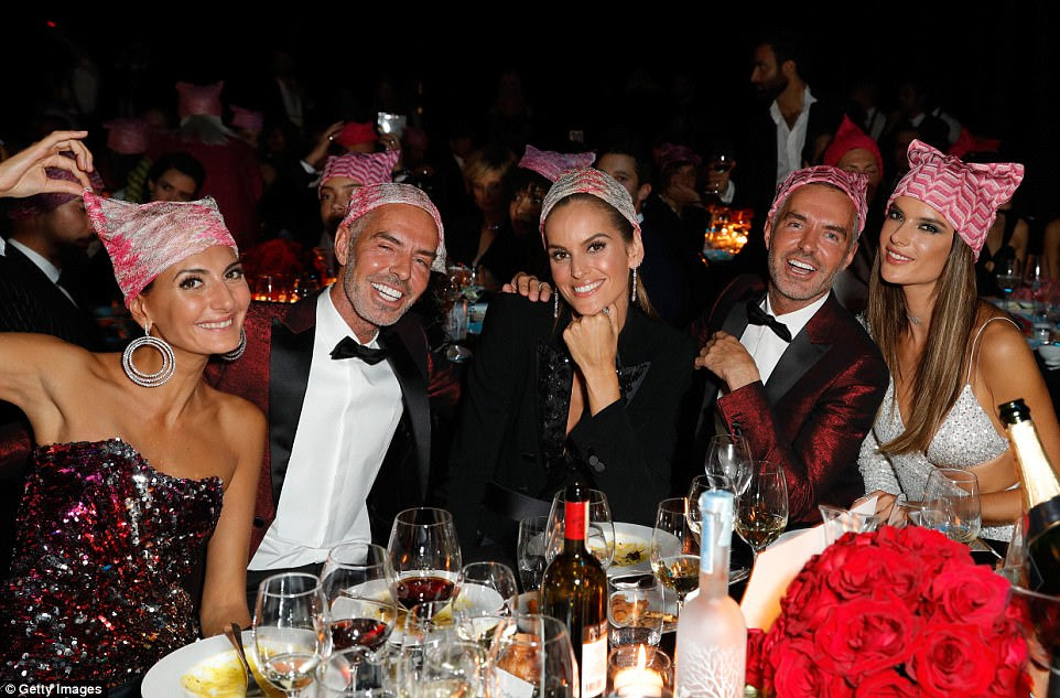 Having a laugh: At the dinner tables, (from left) Giovanna Battaglia, Dean Caten, Dan Caten, Izabel Goulart and Alessandra Ambrosio messed about