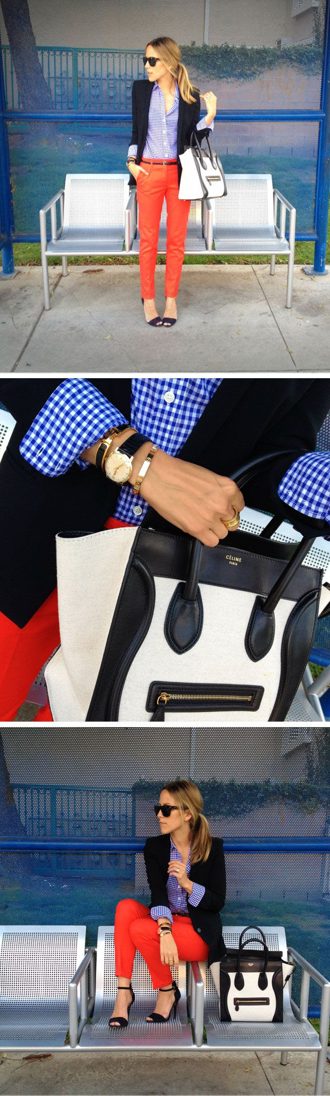 Great look! Gingham shirt, dark blazer, and bright skinnies with a two-tone bag