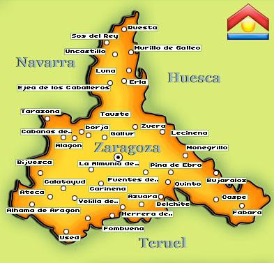 Mapa Provincia De Zaragoza.Pueblos De Zaragoza Mapa Mapa