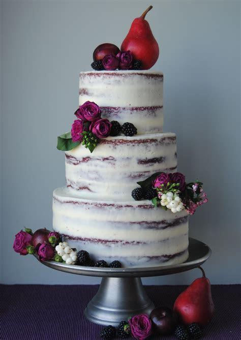 Semi naked red velvet wedding cake with cream cheese