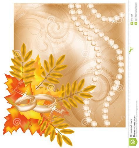 Autumn Wedding Card With Golden Rings Stock Image   Image