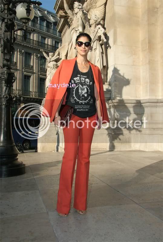 Caroline Issa wearing Chloé spring 2012 pant suit, McQ by Alexander McQueen tee-shirt, Jason Wu Jourdan bag