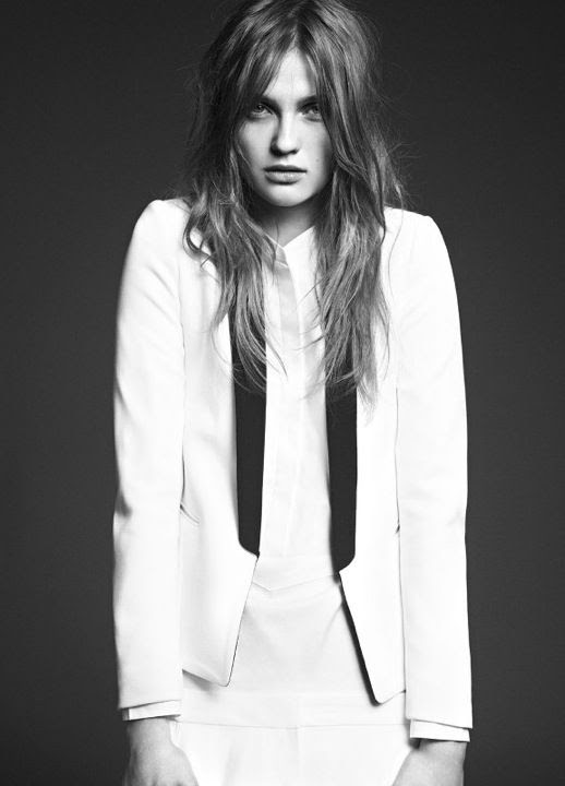 LE FASHION IMAGE SANDRO FW 2012 CAMPAIGN LOOKBOOK WHITE TUXEDO JACKET BLACK LAPELS MESSY NO FUSS HAIR 2