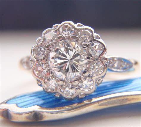 Engagement Ring. Vintage Diamond Cluster Flower Design.