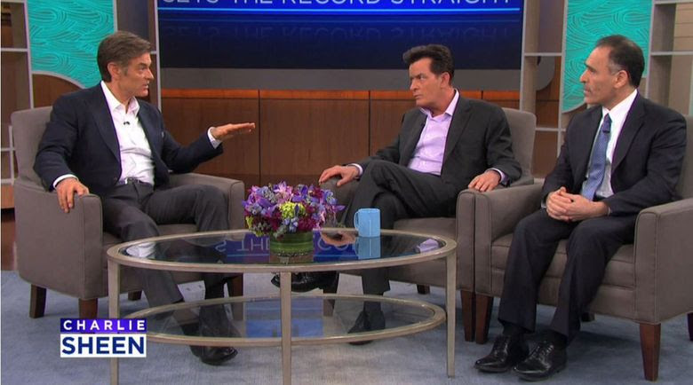 A screengrab of the Feb. 10 Dr. Oz Show with Charlie Sheen and CytoDyn CEO Nader Pourhassan.