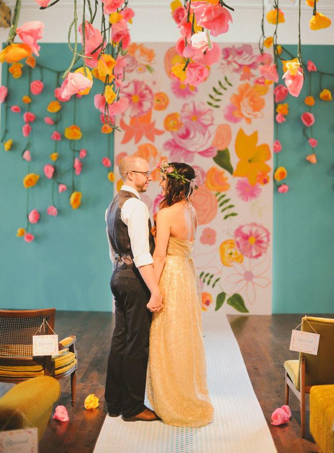 colorful paper flower decor