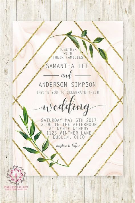 Geometric Marble Greenery Wedding Invite Invitation Bridal